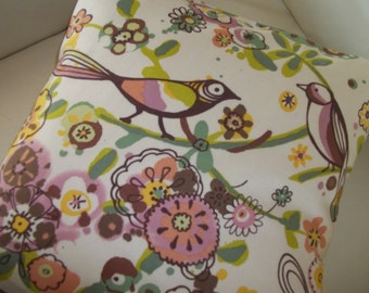 Throw Pillow Cover 16 x  16 ~ Decorative Pillow Cover ~ Birds & Flowers Pillow Cover ~ Larkspur Meadow