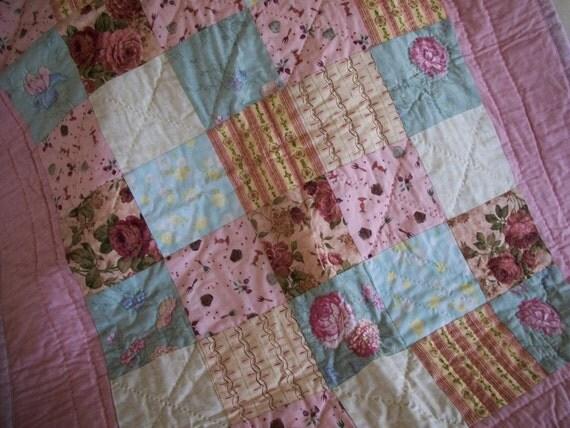 Patchwork Lap Quilt Cottage Chic Pink & Aqua