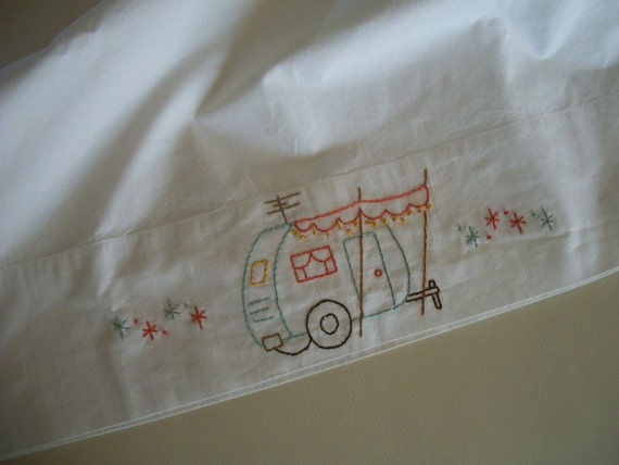 Retro Canned Ham Travel Trailer Embroidered Pillowcase
