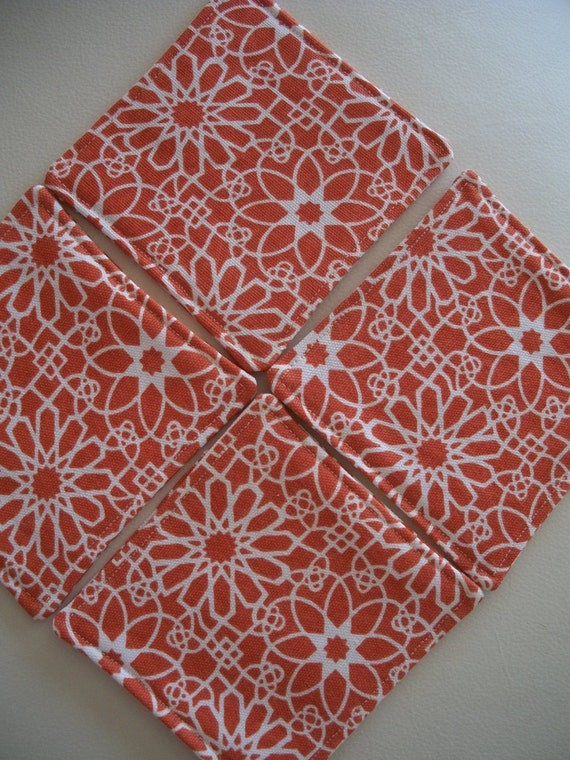 Orange Geometric Floral Coasters - Set of 4