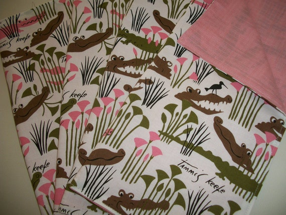 Set of 4 Alligator Napkins in Tammis Keefe Later Gator Fabric