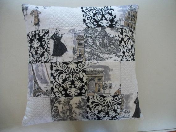 "Decorative Pillow Cover 16"" x 16"" Black & White Toile Paris Apartment"