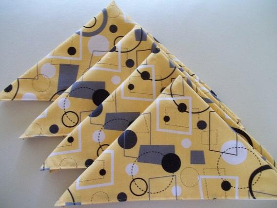 Yellow and Gray Retro Geometric Cloth Napkins - Set of 6