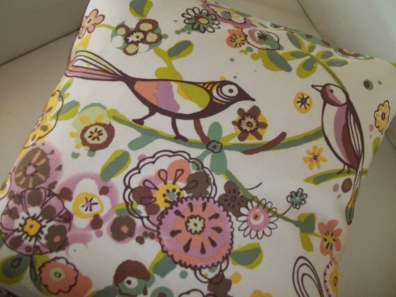 Decorative Throw Pillow Cover 16 x  16 Birds and Flowers Larkspur Meadow