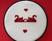 Red Swan With Hearts Valentine Wall Hanging Counted Cross Stitch Round Red  Black Handmade