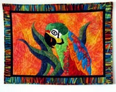 Tropical Fever Palila Parrot Art Quilt Batik Wall Hanging OOAK Orange Red Aqua by CinfulArt on Etsy