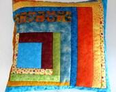 Pillow Cover Throw Pillow Quilted Sham Razzle Dazzle Batik Series Cotton Squared Orange, Aqua, Multi Dots