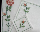 Embroidered  Place Mats  Napkins Coasters Table Linens Rose Floral Orange Coral Green 12 Pieces