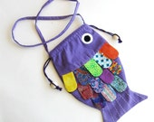 Childrens Purse Frilly Fish Purple Multi Colored Orange Lime Yellow