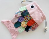Childrens Purse Frilly Fish Pink Multi Colored Scales