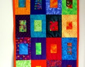 Table Runner Wall Hanging Batik Geometric Square Windows to My Soul Art Quilt Purple Blue Orange Red