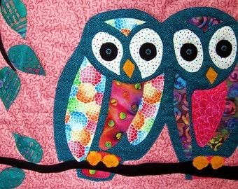 Owl Art Quilt Batik Wall Hanging Wall Decor Aqua Pink Childrens Room