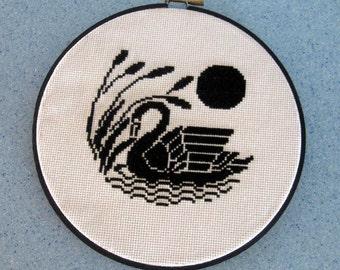 Black Swan Embroidery Needlework Wall Hanging Hoop Art Moon
