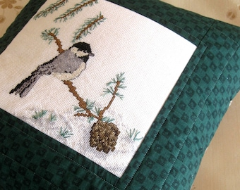 Pillow Cover Chickadee Decorator Pillow Cross Stitch Quilted Pine Cones Green Black Gray