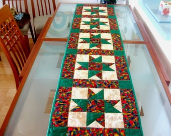 Christmas Quilt Christmas Table Runner Star Patchwork Green Red Purple Gold
