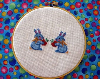 Easter Wall Hanging Bunny Rabbit Blue Bunny Needlework Wall Hanging Blue Easter Bunny Love Cross Stitch