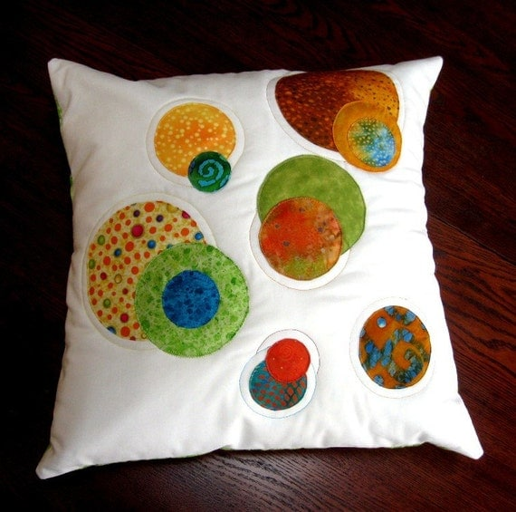 Decorator Pillow Quilted Pillow Decorative Pillow Applique Batik Quilted Sizzling Circles Lime Green Orange Aqua Gold