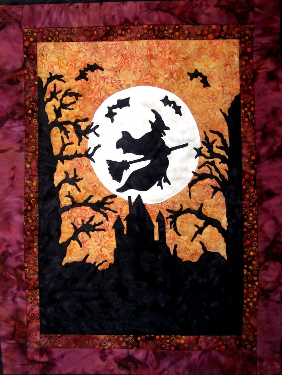 Halloween Witch Quilt Wall Hanging Fiber Art Applique Batik Black Gold Orange