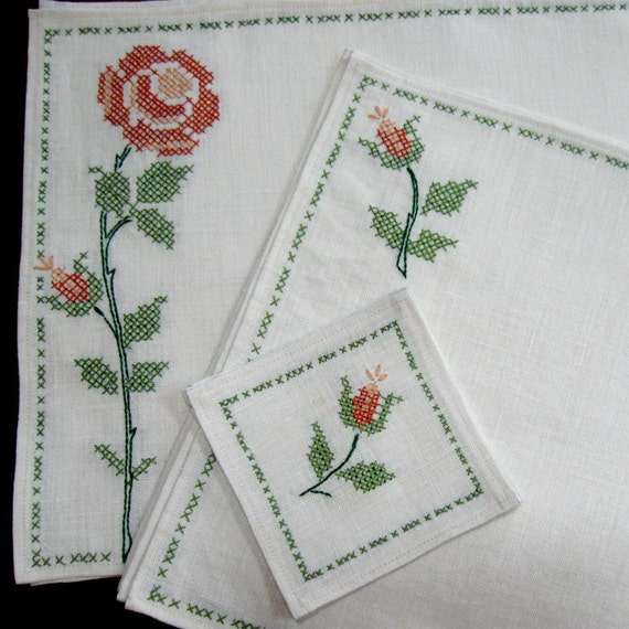 Embroidered Place Mats Napkins Coasters Table by CinfulArt : il570xN259919444 from etsy.com size 570 x 570 jpeg 84kB