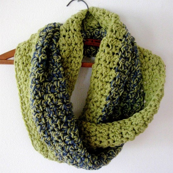 Cowl Green Tweed Neck Warmer Scarf Mobius Twist Muffler Tweed Denim Navy Blue
