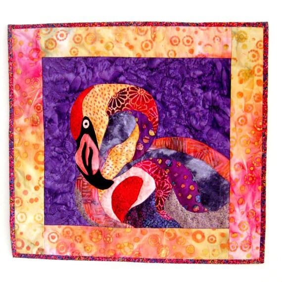 RESERVED for PAMELA -- Wall Art Quilt Flamingo Batik Applique Felicia Pink Purple Red 2nd  Installment