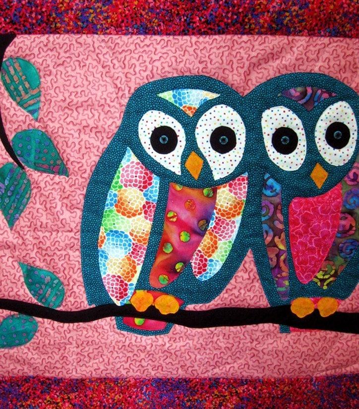 Owl Art Quilt Batik Wall Hanging Wall Decor Aqua Pink By