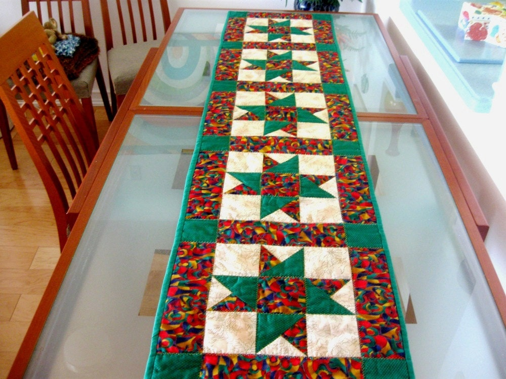 Christmas Quilt Christmas Table Runner Star Patchwork Green