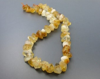 Genuine Sparkling Yellow Citrine Chunky 15 Inches C3013