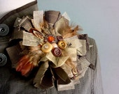 Large Fabric Brooch Upcycled Lapel Pin Brown Rust Flower Vintage Buttons