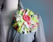 Large Fabric Brooch Upcycled Lapel Pin Pink Lime Flower Vintage Buttons