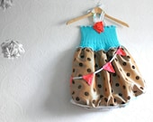 RESERVED for Ginny   ---------Girl's Party Dress 6T Birthday Bunting Toddler Occasion Children's Upcycled Clothing Circus Carnival