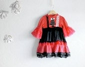 Toddler Christmas Dress 3T Upcycled Clothing Girl's Holiday Hot Pink Black Tree Sparkle 'NOELLE'
