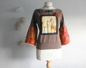 Bohemian Off Shoulder Top Brown Rust Bell Sleeves Boho Chic Shirt Women's Clothing Bird Sweatshirt Medium 'MIRANDA