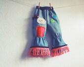 Toddler Bell Bottom Jeans 3T Bohemian Upcycled Children's Clothing Girl's 70's Hippie Fringe Pants 'TRINA'