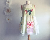 Bohemian Plus Size Top 3X Shabby Chic Clothing Mint Green Red Upcycled Tank Shirt Country Patchwork 'CABIN FEVER'