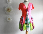 Women's Bohemian Tunic Top Upcycled Clothing Hippie Clothes Hot Pink Lime Green Boho Shirt Wearable Art Large 'CALIOPE'