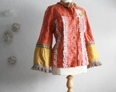 Upcycled Bohemian Jacket Fringe Blazer Rust Gold Bell Sleeves Shabby Chic Clothes Women's Clothing Wearable Art Large 'HENRIETTA'