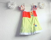 Lime Green Tunic Top 6 7 Children's Clothing Coral Upcycled Shirt Flutter Sleeves Girl's Clothes Eco Friendly Kids 'SIERRA'