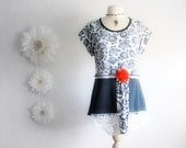 Black and White Upcycled Shirt Women's Clothing Eco Friendly Clothes Lace Rose Floral Print Tunic Large 'LANA'