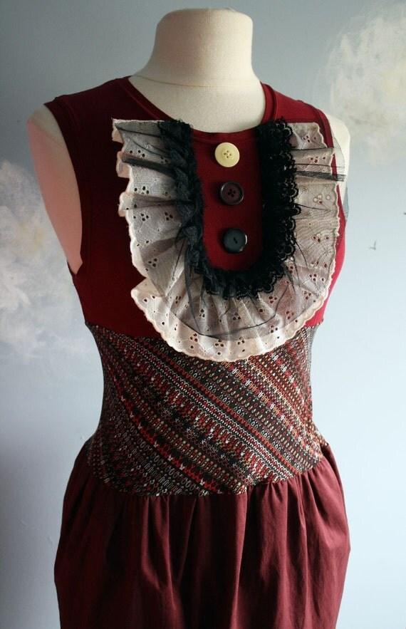 Burgundy Lace Bib Dress Sleeveless Upcycled Handmade S 'SANGRIA'