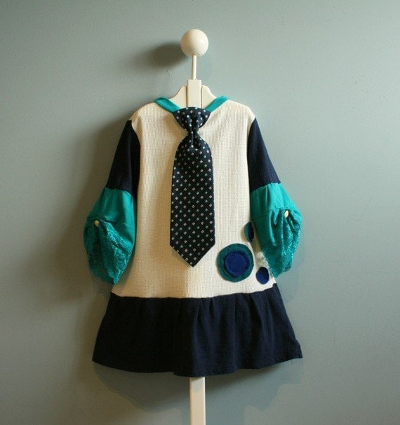 Navy Teal Girl's Dress Necktie Dots Cream Whimsical 5T 6T 'ALL BUSINESS'