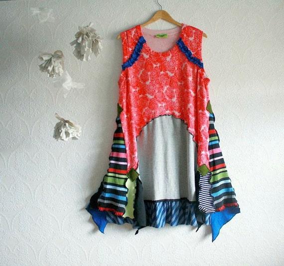 Women's Plus Size Dress Rainbow Sundress Flowers Pink Gray Art To Wear 2X 3X 'EUGENIE'