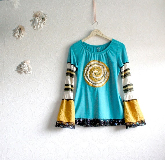 Women's Bohemian Top Teal Gold Upcycled Clothing Bell Sleeves Peasant Clothes Boho Shirt Large 'MARIELLE'