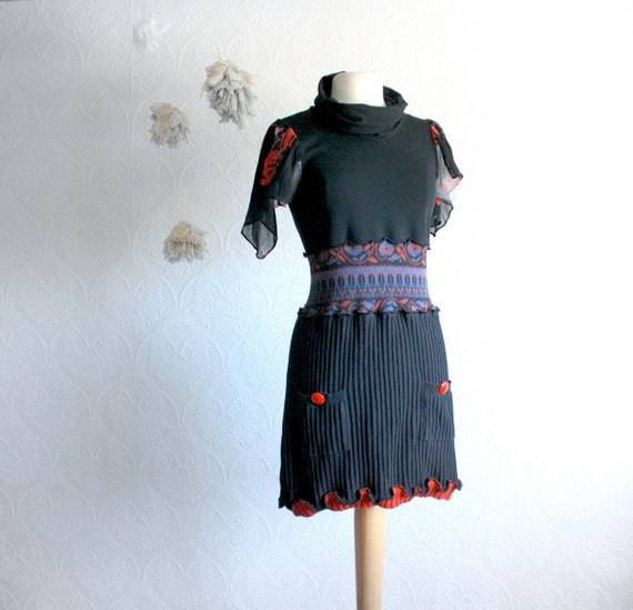 Women's Black Sweater Dress Upcycled Clothing Red Cowl Neck Flutter Sleeves Reconstructed Clothes Medium 'RHODA'