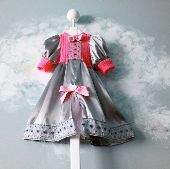 Pink Baby Dress 12 Months Silver Girl's Upcycled Clothing Bows Satin Fancy 'OLD HOLLYWOOD'
