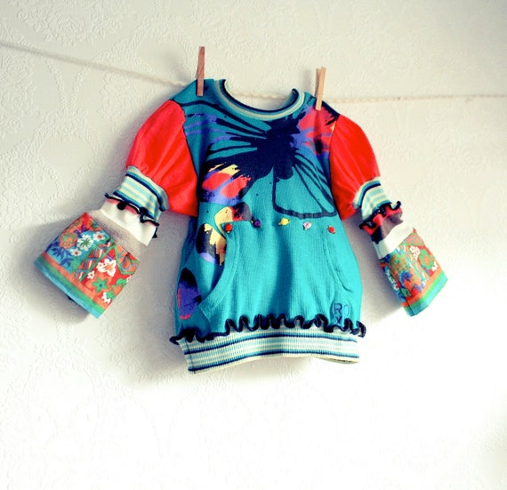 Black Friday Etsy Girl's Toddler Top 6T Children's Upcycled Bohemian Clothes Teal Coral Bell Sleeves Kid's Clothing  'OPHELIA'