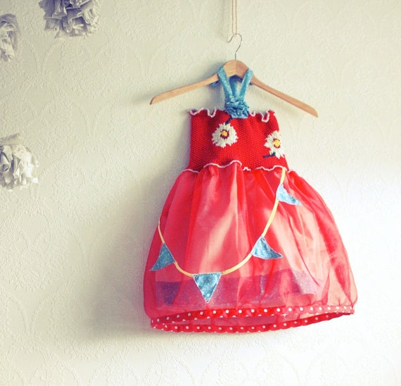 RESERVED For Bonny-----------Toddler Girl's Party Dress 6T Birthday Red White Daisies Halter Carnival Children's Clothing Upcycled