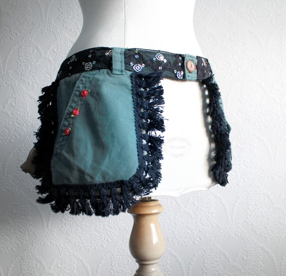 Bohemian Hip Purse Utility Belt Pouch Green Black Boho Gypsy Fringe Pockets Women's Upcycled Accessories