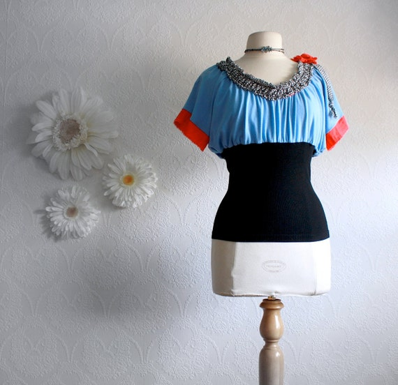 Upcycled Blue and Black Top Bohemian Style Women's Clothing Peasant Shirt Coral Red Boho Chic Medium 'CARRIE'