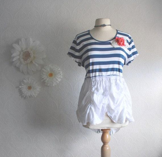 Navy Blue White Nautical Top Upcycled Sailor Shirt Spring Fashion Ladies Clothes Women's Clothing XL XLarge 'LEEZA'